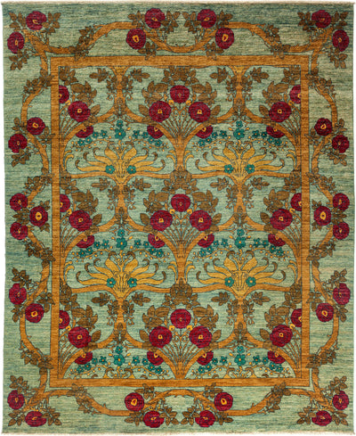 "Arts & Crafts, Green Wool Area Rug - 8' 0"" x 9' 8"""