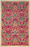 "Arts & Crafts, Pink Wool Area Rug - 4' 10"" x 7' 4"""