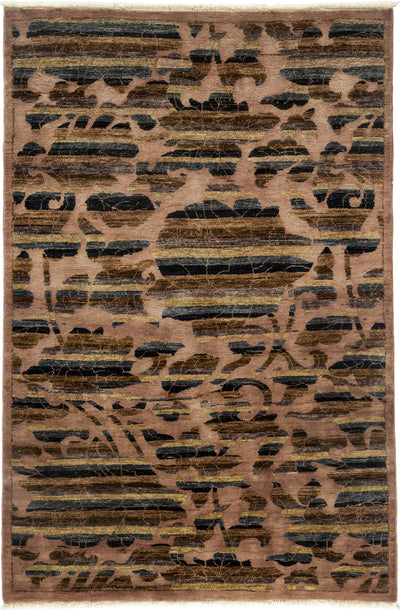 "Arts & Crafts, Brown Wool Area Rug - 4' 2"" x 6' 2"""