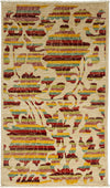 "Arts & Crafts, Ivory Wool Area Rug - 3' 0"" x 5' 1"""