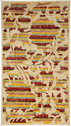 "Arts & Crafts, Ivory Wool Area Rug - 3' 2"" x 5' 6"""