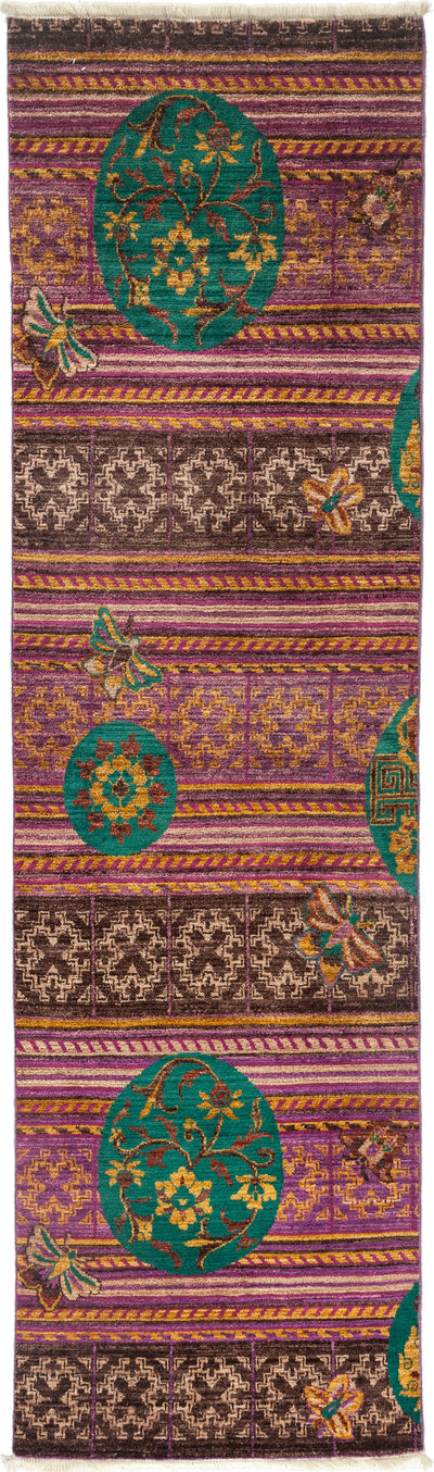 "Arts & Crafts, Purple Wool Runner - 2' 7"" x 7' 8"""