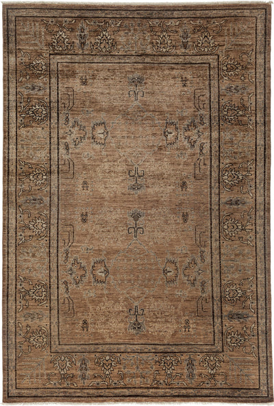 "Classic, Brown Wool Area Rug - 6' 2"" x 9' 0"""