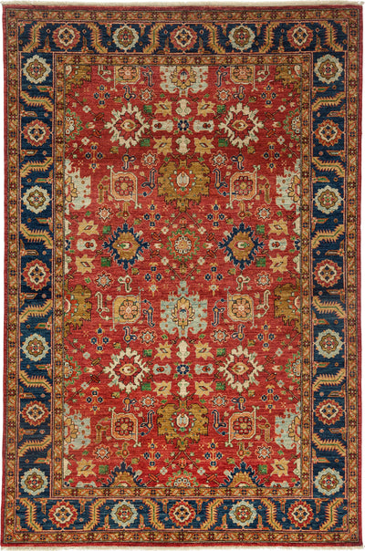 "Classic, Red Wool Area Rug - 6' 0"" x 9' 1"""
