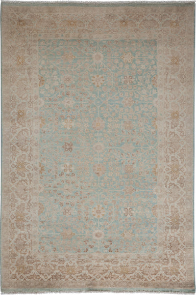 "Oushak, Blue Wool Area Rug - 5' 0"" x 7' 9"""