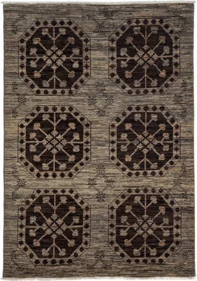 "Classic, Gray Wool Area Rug - 4' 1"" x 6' 0"""