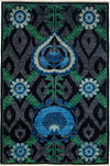 "Suzani, Black Wool Area Rug - 4' 2"" x 6' 1"""