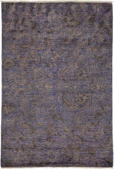 "Suzani, Purple Wool Area Rug - 4' 3"" x 6' 1"""