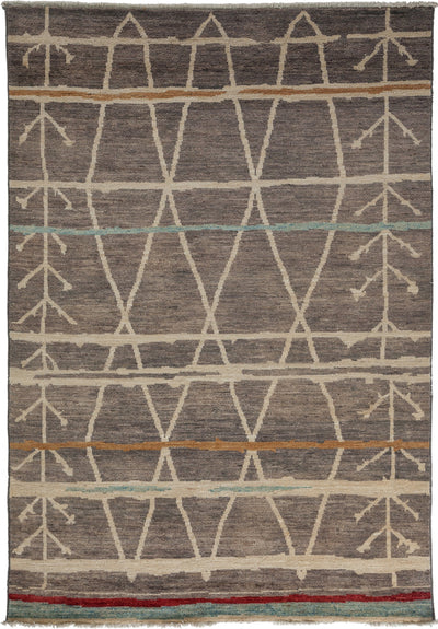 "Moroccan, Gray Wool Area Rug - 6' 3"" x 8' 10"""