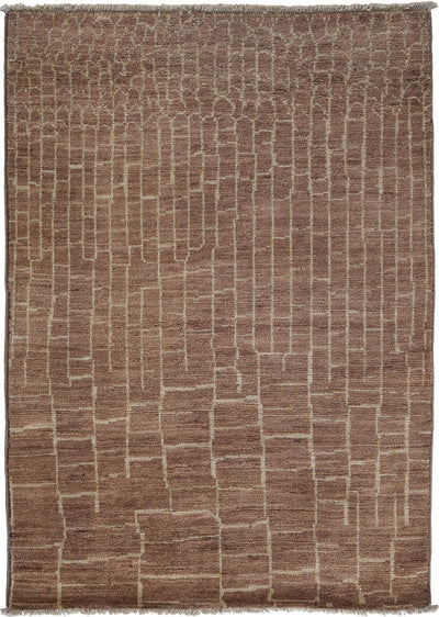 "Moroccan, Brown Wool Area Rug - 4' 1"" x 5' 10"""
