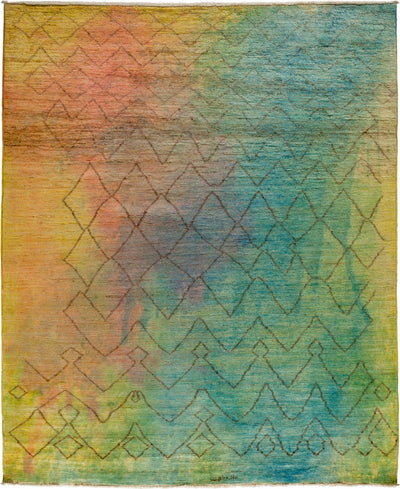 "Overdyed, Multi Wool Area Rug - 8' 2"" x 9' 9"""