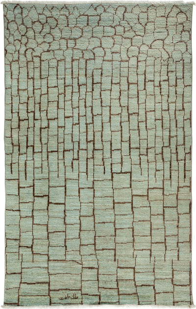 "Overdyed, Green Wool Area Rug - 5' 2"" x 8' 2"""