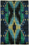"Ikat, Black Wool Area Rug - 4' 0"" x 6' 1"""
