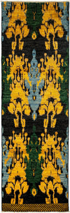 "Ikat, Black Wool Runner - 3' 0"" x 9' 7"""