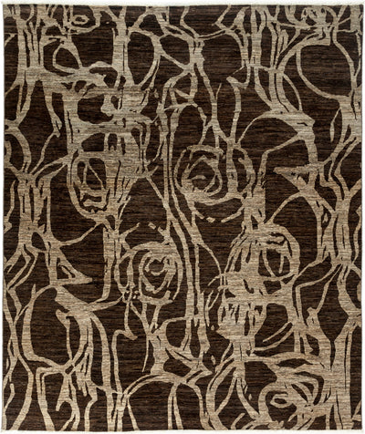 "Classic, Brown Wool Area Rug - 8' 2"" x 9' 9"""