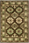 "Tribal, Brown Wool Area Rug - 5' 10"" x 8' 10"""