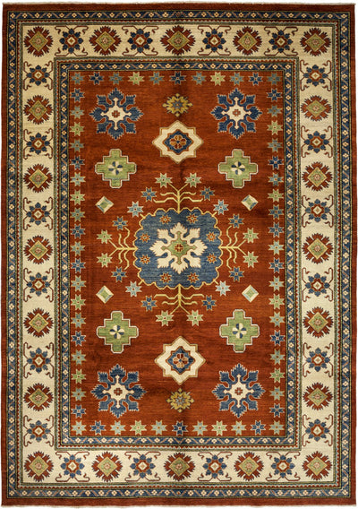 "Kazak, Brown Wool Area Rug - 9' 7"" x 13' 5"""