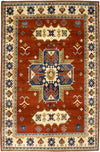 "Kazak, Brown Wool Area Rug - 6' 3"" x 9' 3"""