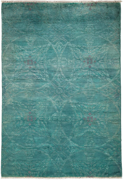 "Overdyed, Blue Wool Area Rug - 4' 3"" x 6' 1"""