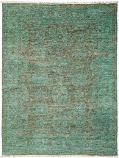 "Overdyed, Green Wool Area Rug - 4' 2"" x 5' 6"""