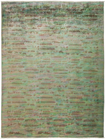 "Overdyed, Green Wool Area Rug - 9' 1"" x 11' 10"""