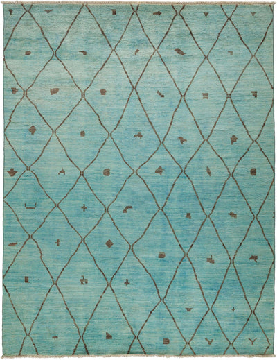 "Overdyed, Blue Wool Area Rug - 7' 10"" x 10' 2"""