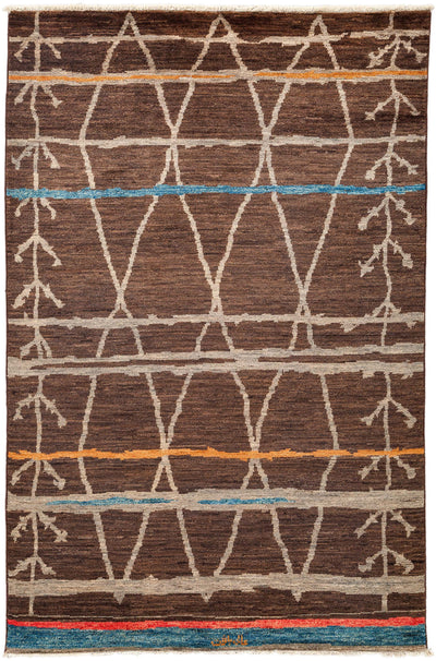 "Moroccan, Brown Wool Area Rug - 5' 10"" x 9' 2"""