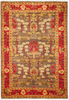 "Arts & Crafts, Brown Wool Area Rug - 4' 3"" x 6' 0"""