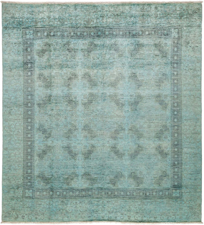 "Overdyed, Blue Wool Area Rug - 8' 1"" x 8' 4"""
