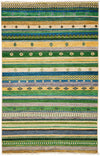 "Tribal, Green Wool Area Rug - 4' 2"" x 6' 2"""