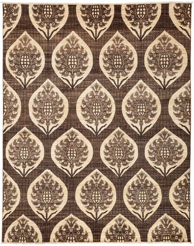 "Classic, Brown Wool Area Rug - 7' 10"" x 10' 0"""