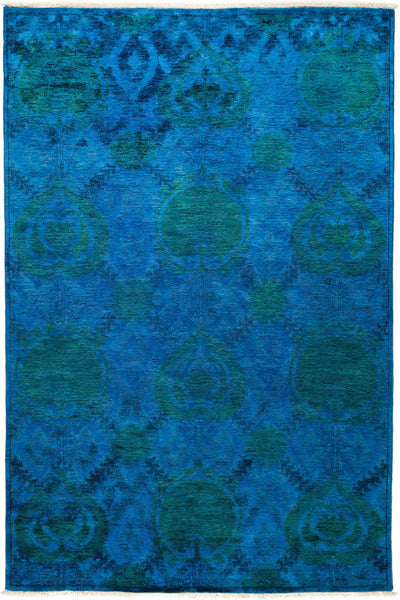 "Overdyed, Blue Wool Area Rug - 6' 1"" x 9' 0"""