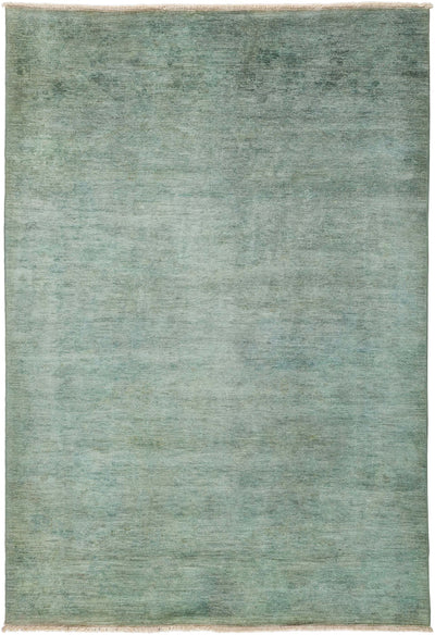 "Overdyed, Green Wool Area Rug - 6' 1"" x 8' 10"""
