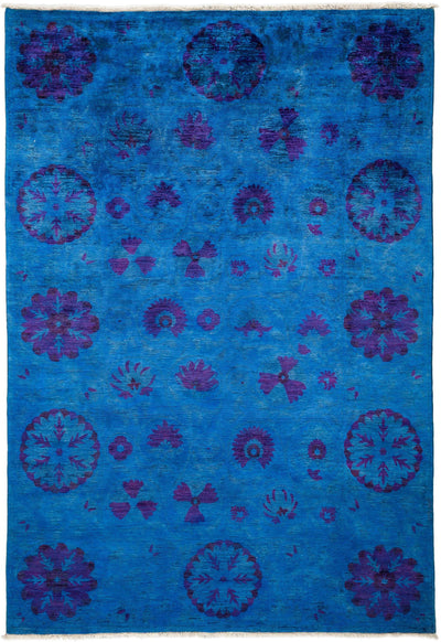 "Overdyed, Blue Wool Area Rug - 6' 0"" x 8' 7"""