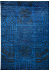 "Overdyed, Blue Wool Area Rug - 6' 4"" x 8' 10"""