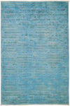 "Overdyed, Blue Wool Area Rug - 6' 2"" x 9' 5"""