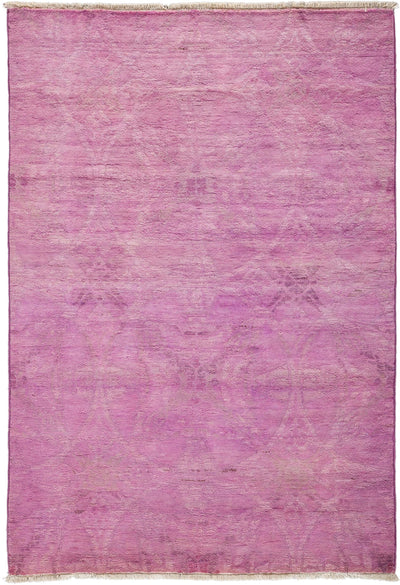 "Overdyed, Pink Wool Area Rug - 4' 1"" x 5' 10"""