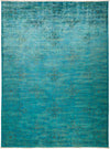 "Overdyed, Blue Wool Area Rug - 8' 9"" x 12' 0"""