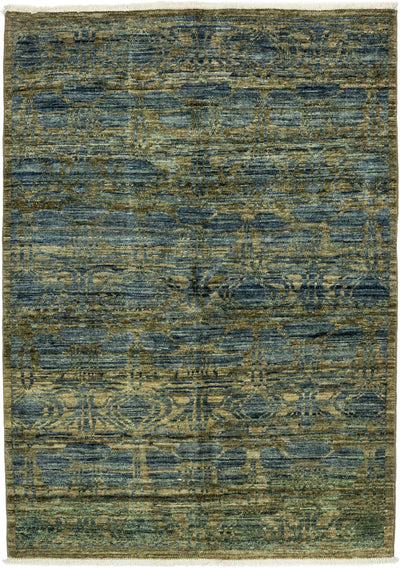 "Modern, Blue Wool Area Rug - 4' 4"" x 5' 10"""