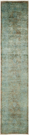 "Overdyed, Adina Green Wool Runner - 2' 7"" x 12' 1"""