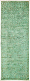 "Overdyed, Adina Green Wool Runner - 2' 7"" x 7' 4"""