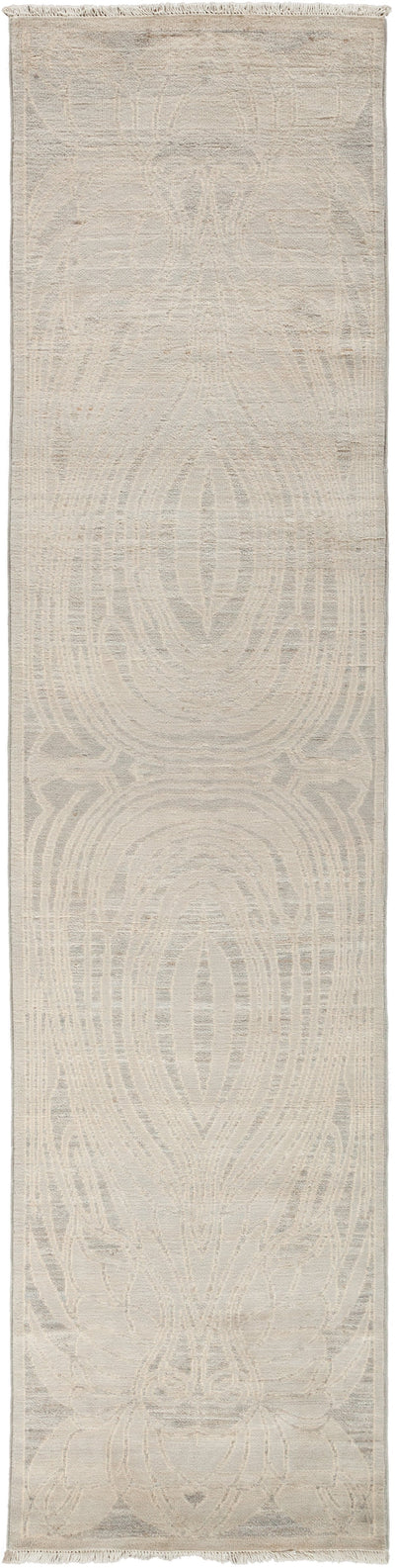 "Modern, Gray Wool & Silk Runner - 2' 8"" x 10' 8"""