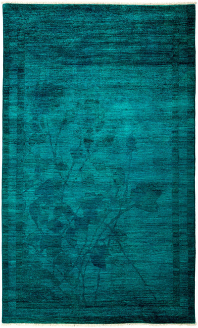 "Overdyed, Adina Blue Wool Area Rug - 5' 1"" x 8' 5"""