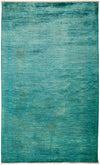 "Overdyed, Adina Green Wool Area Rug - 4' 9"" x 8' 0"""