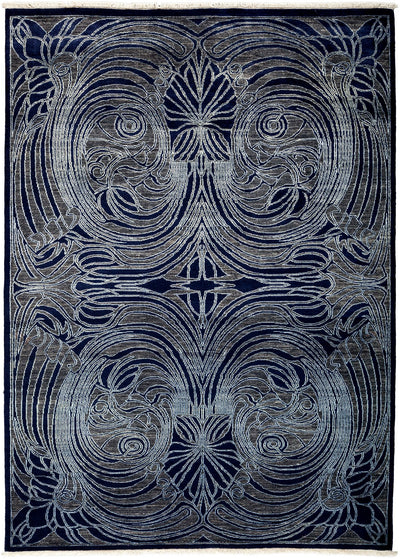 "Modern, Blue Wool & Silk Area Rug - 6' 0"" x 8' 5"""