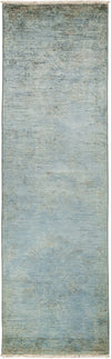 "Overdyed, Adina Blue Wool Runner - 3' 0"" x 9' 9"""