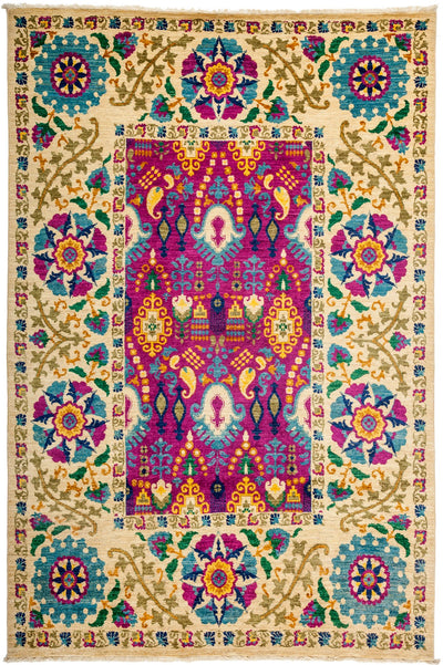 "Suzani, Multi Wool Area Rug - 6' 2"" x 9' 1"""
