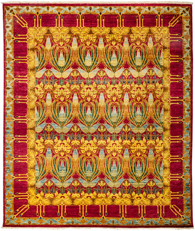 "Arts & Crafts, Yellow Wool Area Rug - 8' 1"" x 9' 6"""