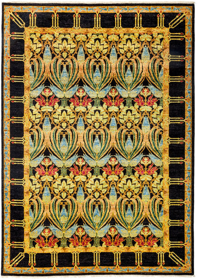 "Arts & Crafts, Yellow Wool Area Rug - 6' 4"" x 8' 10"""