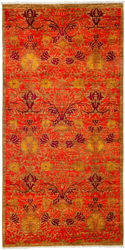 "Arts & Crafts, Orange Wool Area Rug - 4' 3"" x 8' 4"""